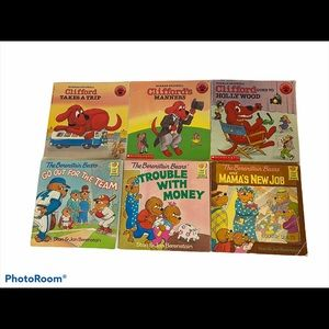 6  (80/90's) books Clifford & The Berenstain Bears